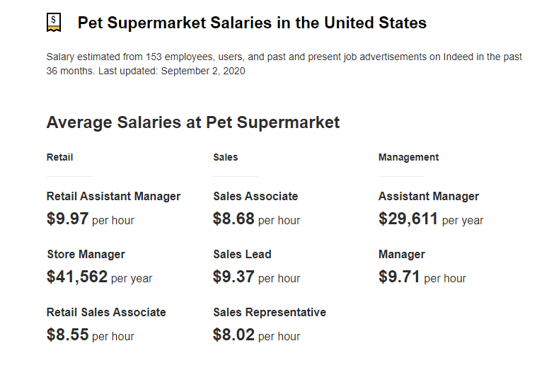 How Much Does Pet Supermarket Pay